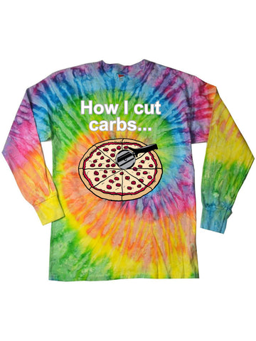 Carb Pizza Funny Long Sleeve Tie Dye Tee Shirt - Saturn