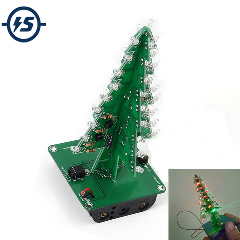 7 Colors 3D Christmas Tree LED Flash DIY Kit Three-Dimensional Colorful RGB LED Circuit Kit Electronic Fun Suite Christmas Gift