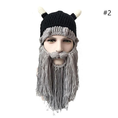 Mr.Kooky Men's Barbarian Vagabond Viking Beard Beanie Horn Hats Handmade Winter Warm Birthday Cool Gifts Funny Gag Cap