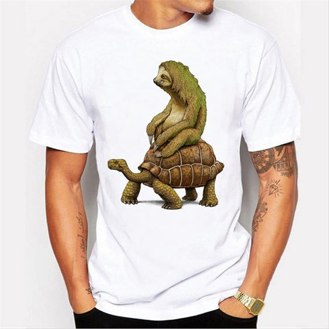 New Summer Men's Fashion Short Sleeve Tortoise Design T-shirt Harajuku Funny Tee Shirts Hipster O-neck Tees Tees Funny T-Shirt
