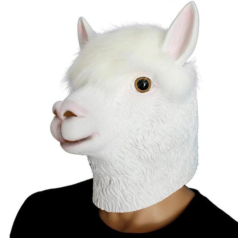 Alpaca Full Head Mask Funny Halloween Costume Party Toy Prop
