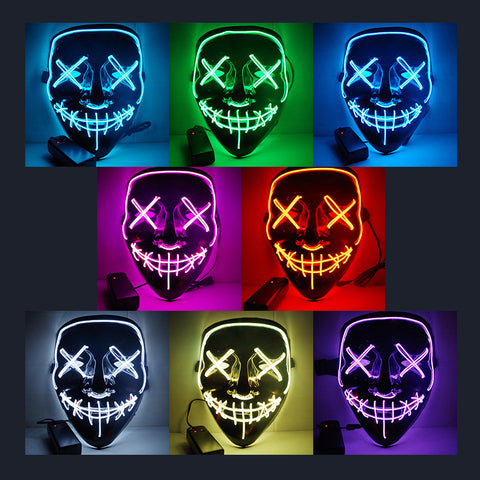 Drop Shipping Mask Halloween LED Light Up Party Masks Purge Election Year Great Funny Mask Festival Cosplay Glow In Dark