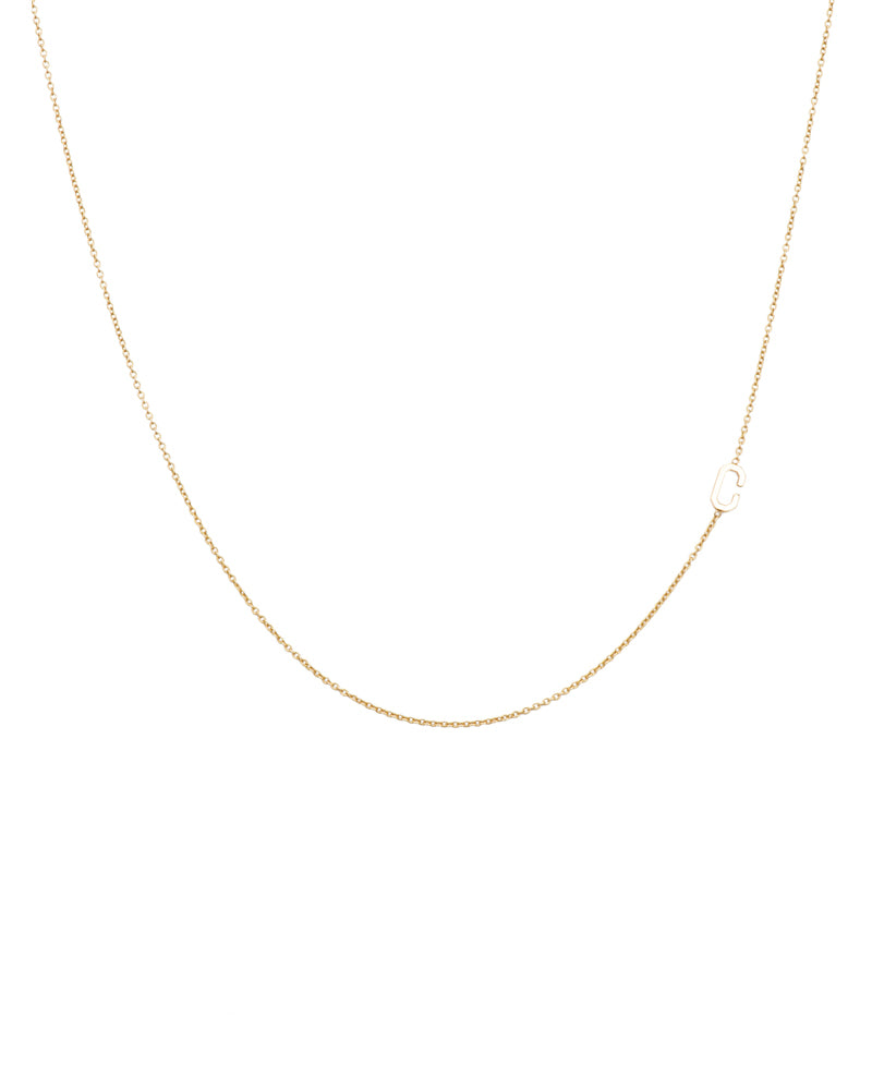 14k Asymmetrical Initial Necklace