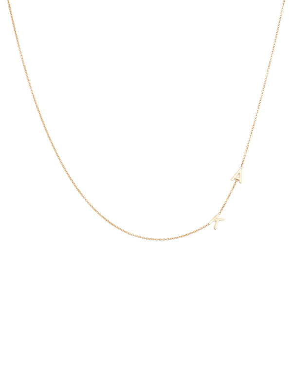 14k Asymmetrical Multiple Initials Necklace