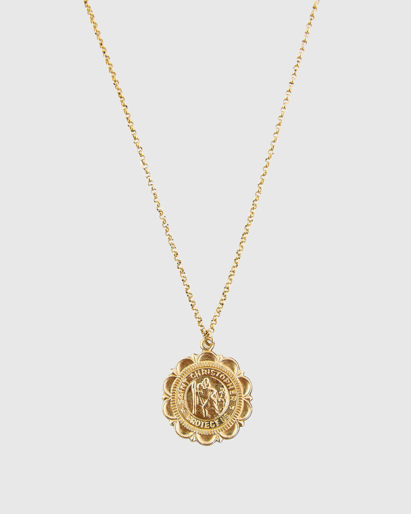 St. Christopher Medallion Necklace - 14K Gold Filled