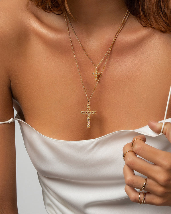 Small Fila Cross Necklace
