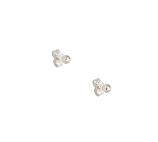 14k Small White Gold Studs