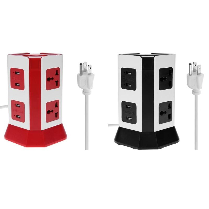 2 Layer Power Socket Universal Vertical Smart Electrical Socket Plugs 6 Outlet 4 USB Ports  US  Plug