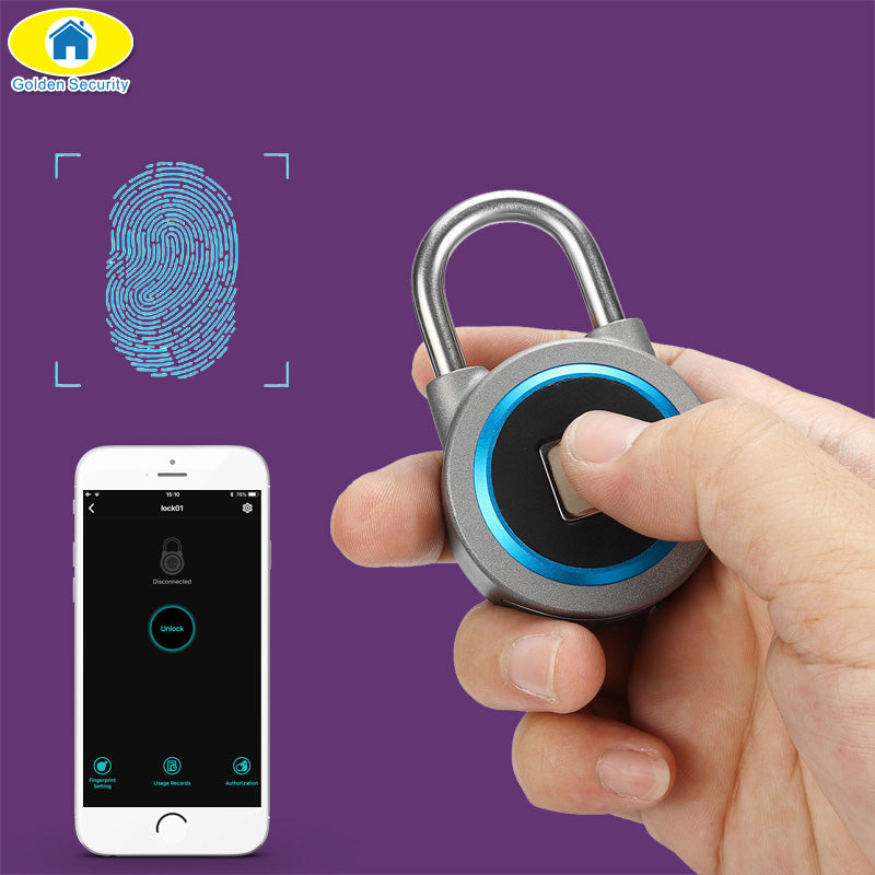Mini Bluetooth Lock Phone APP Waterproof Keyless Fingerprint Lock Unlock Anti Theft Padlock Door Lock for IOS Android
