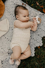 Cream Cotton Romper with pattern