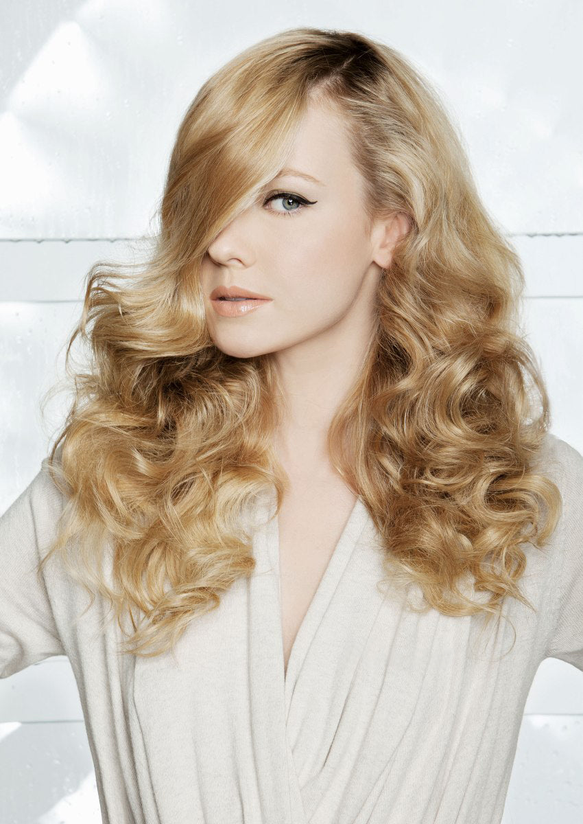 100% Human Hair Full Lace Wavy Blonde Long Wigs 18 Inch