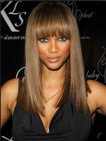 Chic Beyonce Long Straight Brown African American Wigs for Women