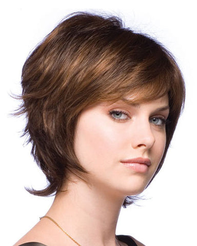 100% Human Hair Brown Short Capless Curly Wigs