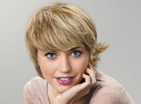 100% Human Hair Blonde Short Capless Curly Wigs 8 Inch