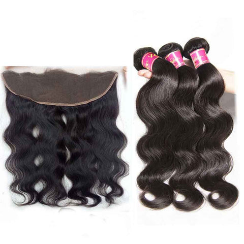 Body Wave Virgin Hair 3 Bundles With Lace Frontal Closure 13x4 Wholesale Human Hair Weave