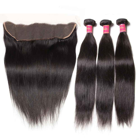 Straight Virgin Hair Weave 3 Bundles With Lace Frontal Closure 13x4 Ear To Ear
