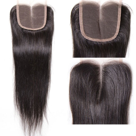 4 Bundles Virgin Straight Human Hair Weave With Lace Frontal Closure