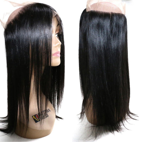 360 Full Lace Frontal Closure Straight Unprocessed Virgin Human Hair Lace Frontal