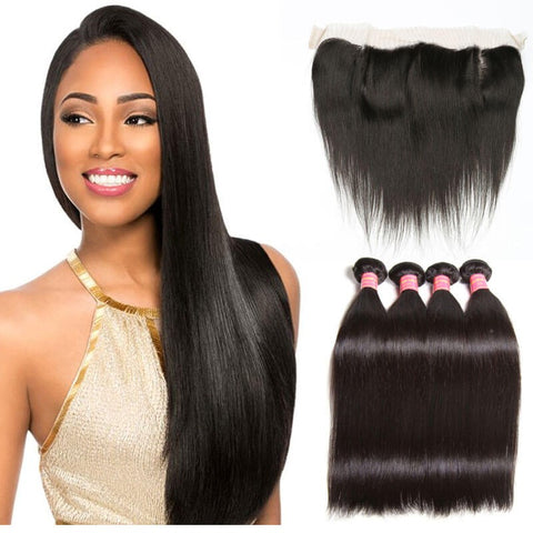 4 Bundles Straight Virgin Hair Weave With Lace Frontal Closure 13x4 Affordable Human Hair Extensions