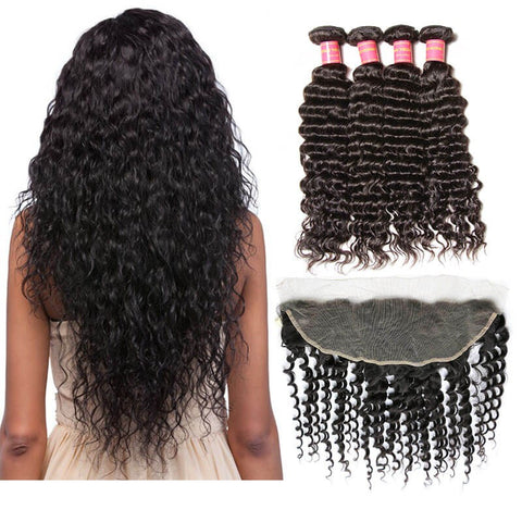 Body Wave Virgin Hair 3 Bundles With 360 Lace Frontal Closure Wavy Human Hair Weave