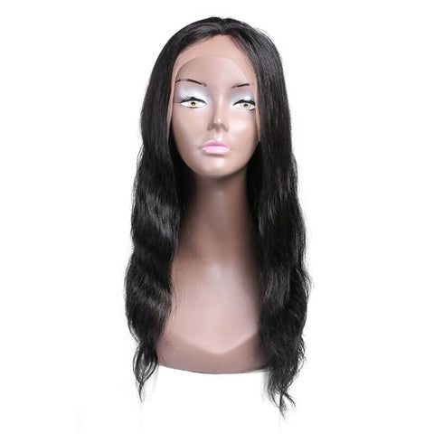 Long Body Wave Human Hair Wigs Lace Frontal Wigs Black Color