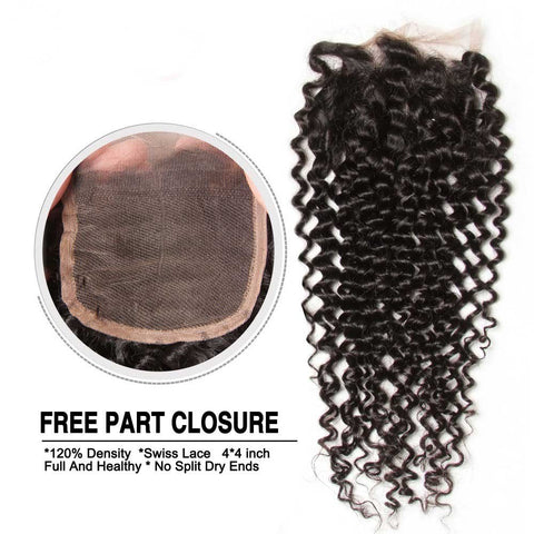 4x4 Three Part Middle Part And Free Part Lace Closure Kinky Curly 100% Virgin Human Hair
