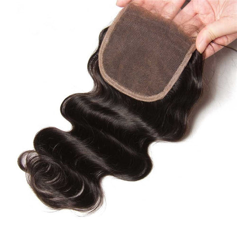 Three Part Middle Part And Free Part Virgin Human Hair Lace Closure Body Wave 4x4