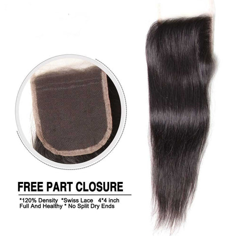 Three Part Middle Part And Free Part Lace Closure Straight 100% Virgin Human Hair