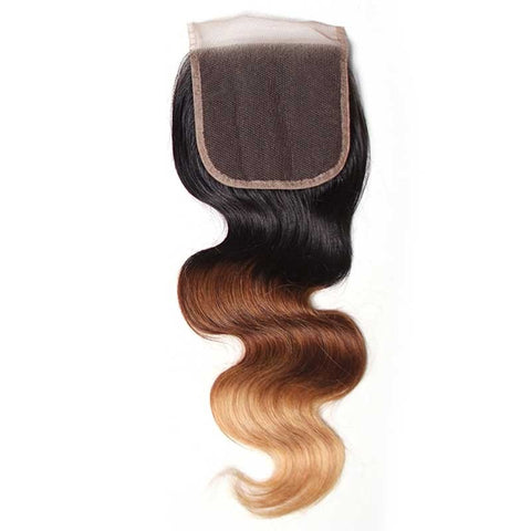 Virgin Human Hair Weave Ombre Body Wave Hair 1 Pieces Closure