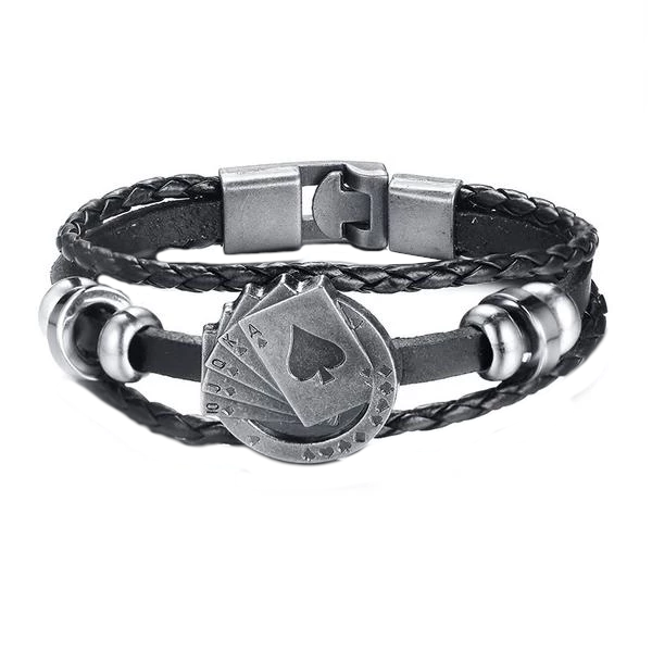 Royal Flush Vintage Men's Leather Bracelet