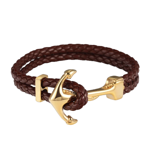 Genuine Braided Leather Anchor Bracelet