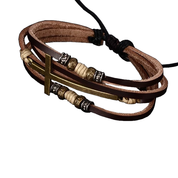 Genuine Real Leather - Cross Bracelets
