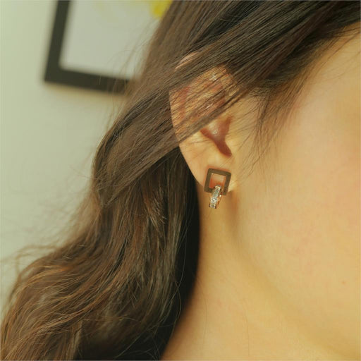 Women Geometry Square Round Crystal Stud Earrings Rose Gold Korean Charm Fashion Jewelry