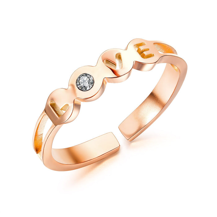 Women Rings LOVE Open Cuff Design Ring Band Rose Gold Stiainless Steel Girlfriend Romantic Style Ring Wedding Party