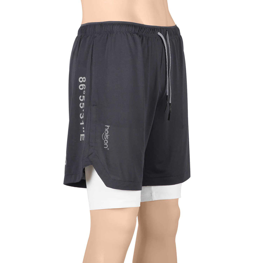 Hoison Sports EVEREST 2020 Men's Running Shorts Quick Dry Lightweight Zipper Pocket Short Pants for Athletic Gym Workout (2-in-1 Liner Designed)