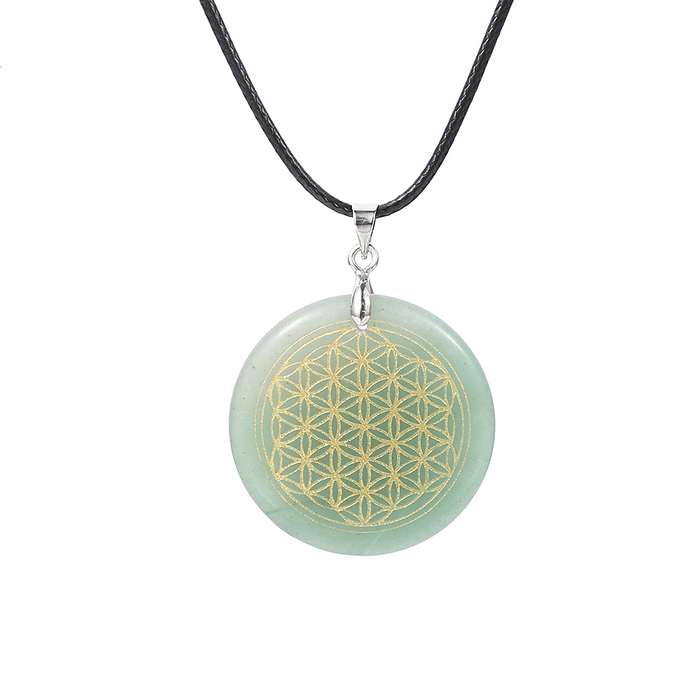 "Necklace ""Flower of Life"" in Natural Stone - 8 stones available"