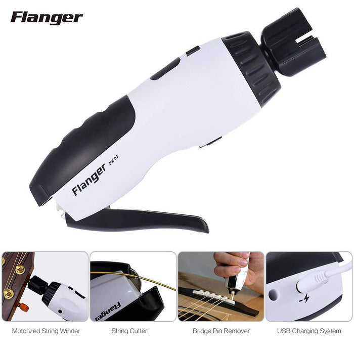 Flanger FX-02 3 In 1 Multifunctional Restringing Tools Motorized String Cutter Bridge Pin Puller