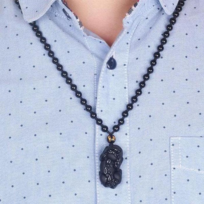 Black Obsidian Pixiu Protection Necklace - Necklace - Inner Wisdom Store