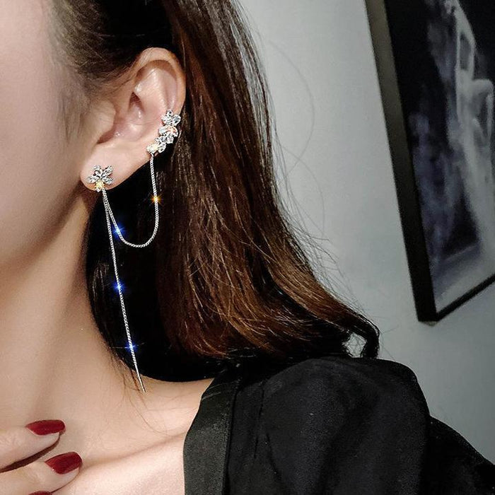 Chain Thread Earrings With Cuff
