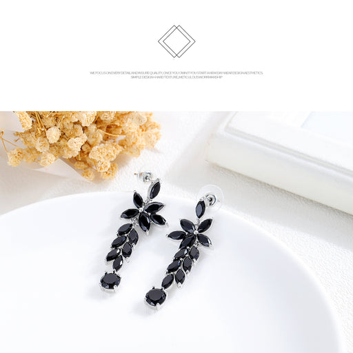 Fashion boho style diamond multi-layer crystal leaf earrings black long earrings