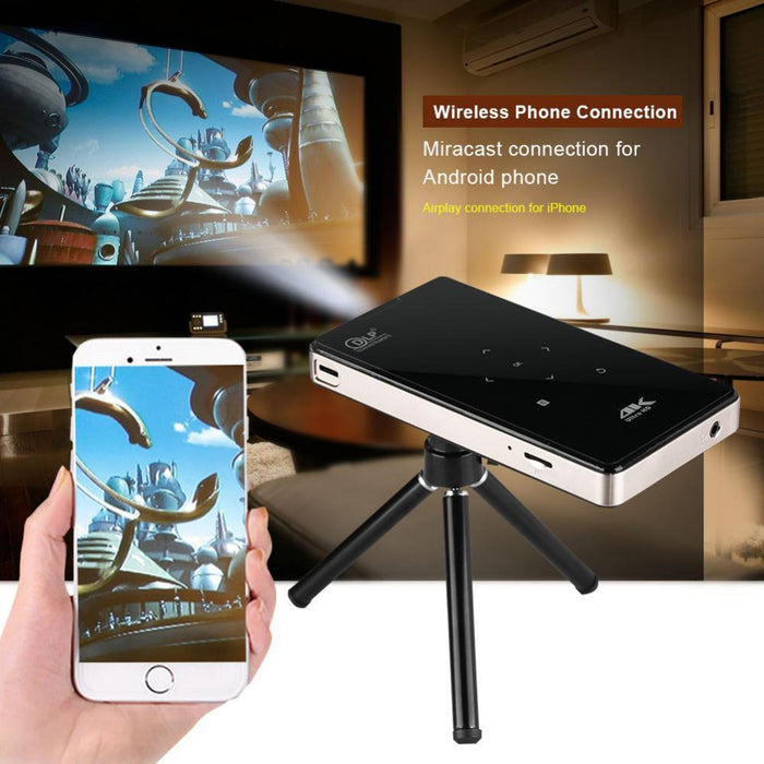 4K DLP Micro Projector 2.4G WiFi 1000:1 Phone Control Video Projector