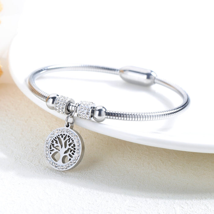 Titanium steel tree of life Diamond ladies bracelet