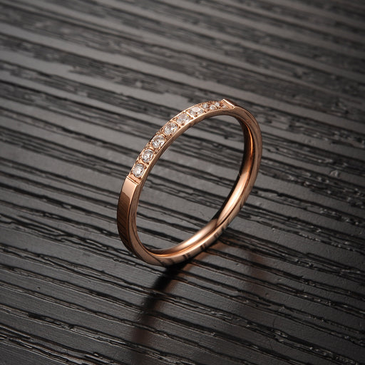 Zircon titanium steel ring