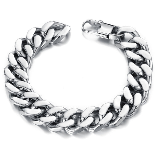 Classic Titanium Steel Thick And Wide Flat Snake Bone Chain Men's Business Bracelet