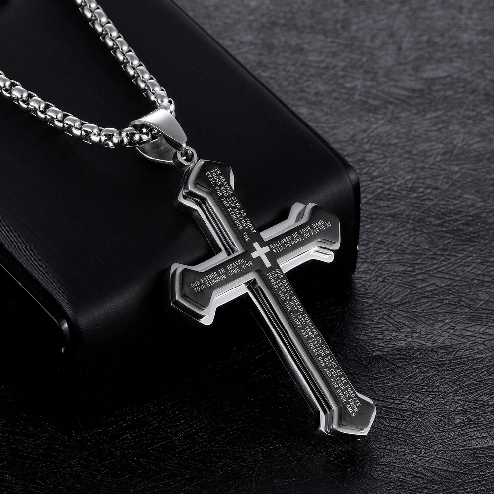 Titanium steel three-layer bible cross men's necklace