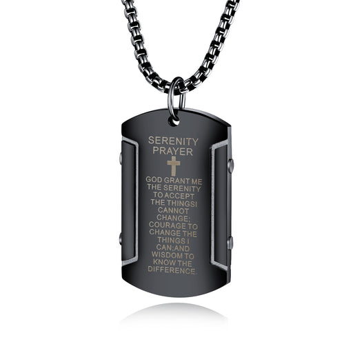 Vintage Scripture Stainless Steel Men's Pendant Fashion Trend Cross Necklace