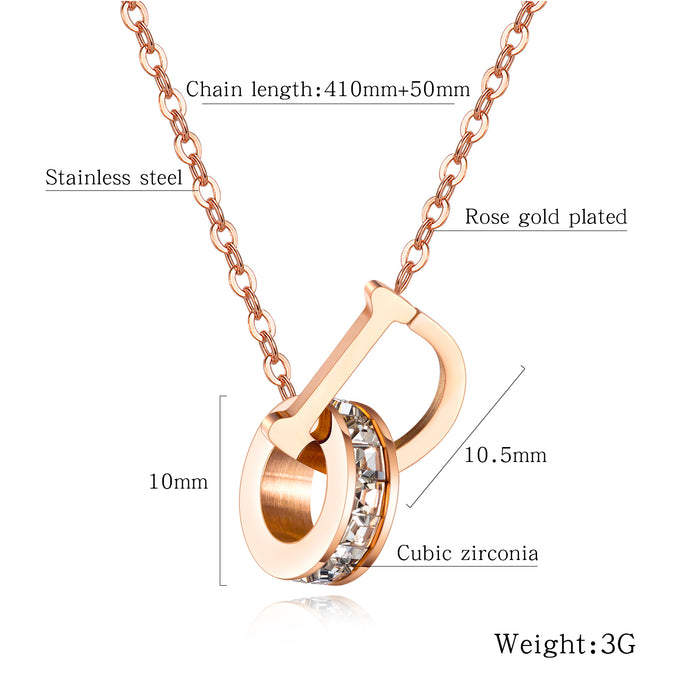 Simple and versatile titanium steel letter necklace, personalized forest set diamond ring clavicle chain ladies
