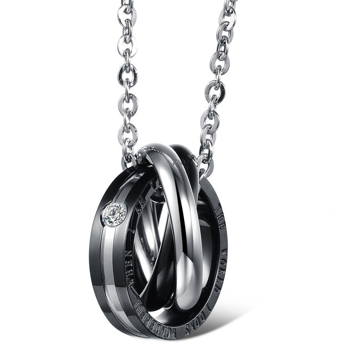 Titanium steel couple necklace
