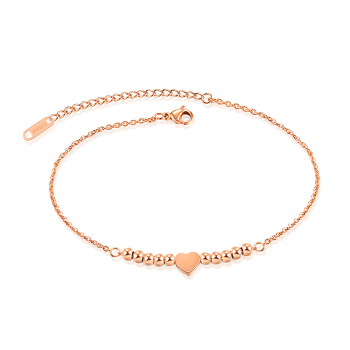 Round Bead Heart Anklet