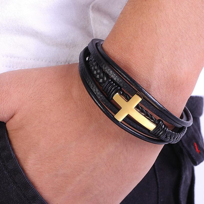 Traditional Hand-made Leather Cross Bracelets